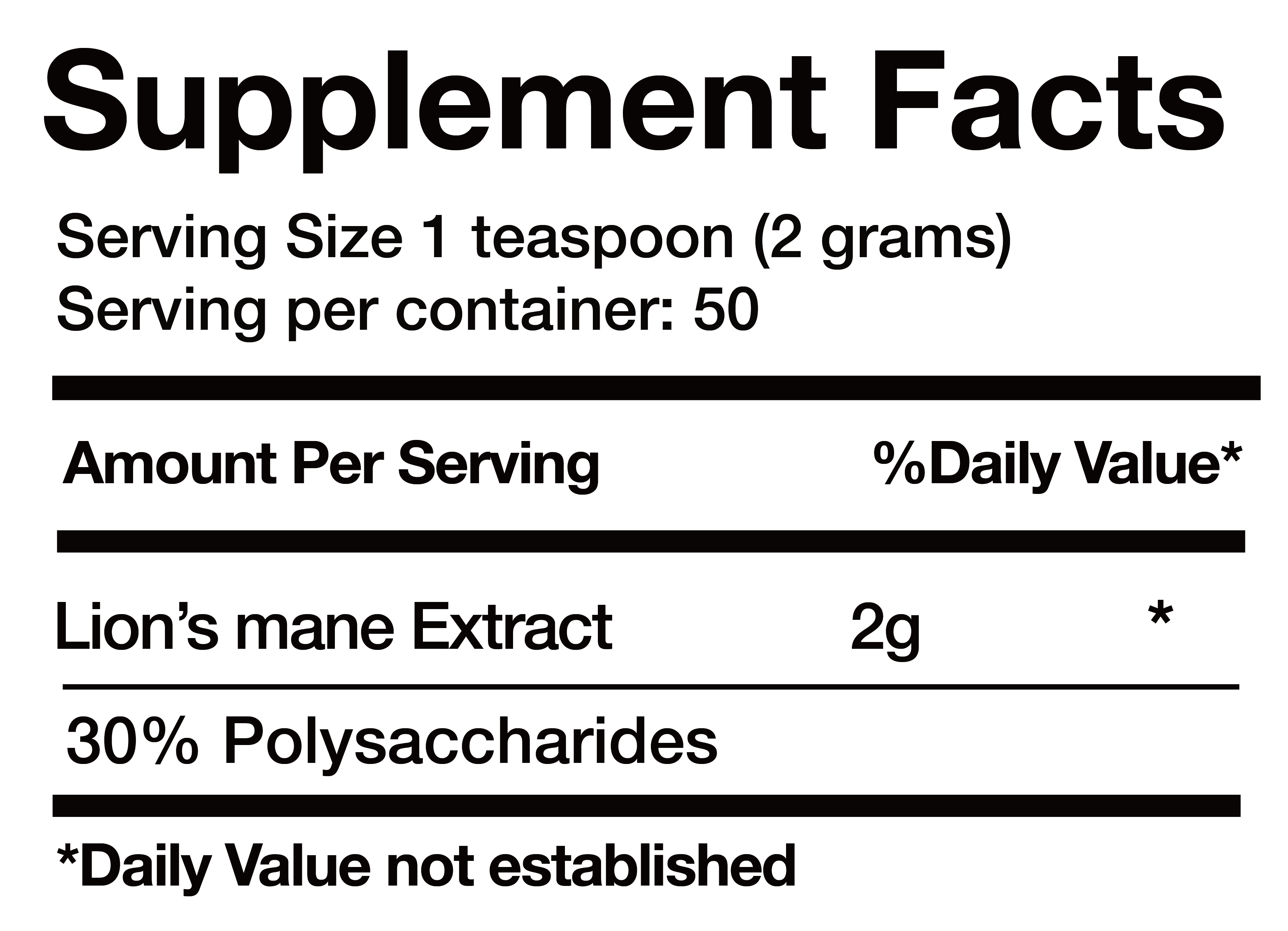 Lion's Mane Extract nutrition facts